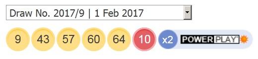 1 ਫਰਵਰੀ 2017 ਅਮਰੀਕੀ ਪਾਵਰਬਾਲ ਦੇ ਨਤੀਜੇ