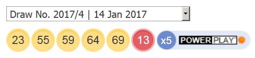 14 ਜਨਵਰੀ 2017 ਪਾਵਰਬਾਲ ਦੇ ਨਤੀਜੇ