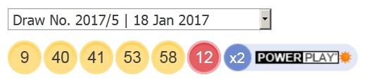 ਅੱਜ ਦੇ ਨਤੀਜਿਆਂ ਤੋਂ 18 ਜਨਵਰੀ 2017 ਪਾਵਰਬਾਲ