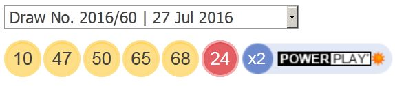 Powerball tall 27 juli 2016