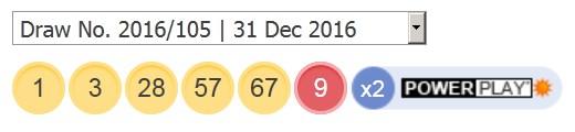 31 ਦਸੰਬਰ 2016 ਪਾਵਰਬਾਲ ਅੱਜ ਦੇ ਨੰਬਰ