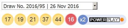 ਪਾਵਰਬਾਲ ਲਾਟਰੀ ਦੇ ਨਤੀਜੇ 26 ਨਵੰਬਰ, 2016