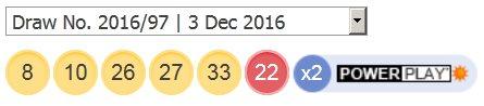 ਪਾਵਰਬਾਲ ਲਾਟਰੀ ਦੇ ਨਤੀਜੇ 3 ਦਸੰਬਰ, 2016