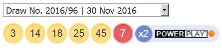 ਪਾਵਰਬਾਲ ਲਾਟਰੀ ਦੇ ਨਤੀਜੇ 30 ਨਵੰਬਰ, 2016