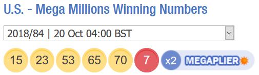 अमेरिकी लॉटरी Megamillions परिणाम। शुक्रवार 19 अक्टूबर 2018। Megamillions संख्या जीतने।