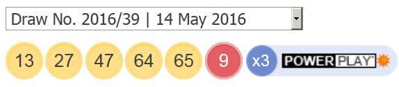 ਪਾਵਰਬਾਲ ਨਤੀਜੇ: 14 ਮਈ 2016