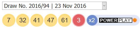 ਪਾਵਰਬਾਲ ਦੇ ਨਤੀਜੇ - 23 ਨਵੰਬਰ 2016
