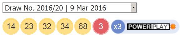 Powerball resultaten: 9 2016 maart, woensdag